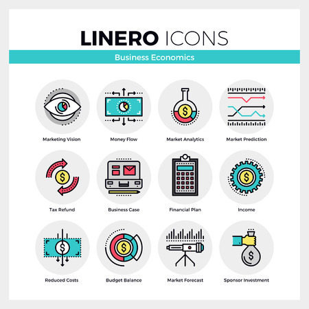 Line icons set of business economics and market analytics. Modern color flat design linear pictogram collection. Outline vector concept of mono stroke symbol pack. Premium quality web graphics material. Ilustração