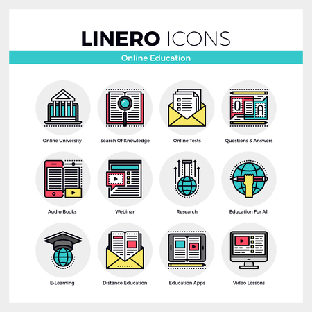 Line icons set of online education apps, e-learning webinar. Modern color flat design linear pictogram collection. Outline vector concept of mono stroke symbol pack. Premium quality web graphics material. Vectores