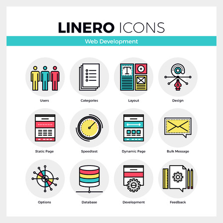 Line icons set of web development, website user settings. Modern color flat design linear pictogram collection. Outline vector concept of mono stroke symbol pack. Premium quality web graphics material. Stock Illustratie