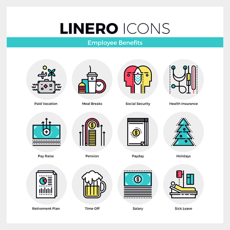 Line icons set of employee benefits in successful company. Modern color flat design linear pictogram collection. Outline vector concept of mono stroke symbol pack. Premium quality web graphics material. Ilustração
