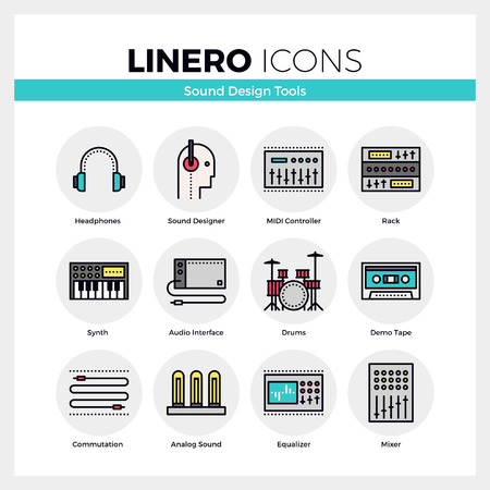 sound mixer: Line icons set of sound engineering synth and midi controller. Modern color flat design linear pictogram collection. Outline vector concept of mono stroke symbol pack. Premium quality web graphics material.