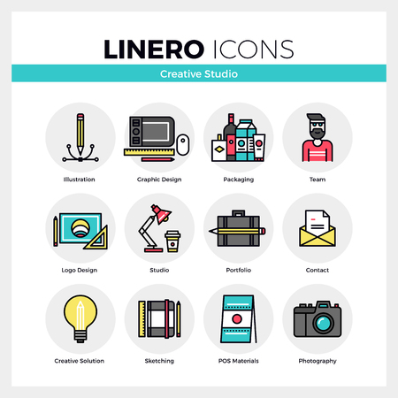 line material: Line icons set of creative studio service creation process. Modern color flat design linear pictogram collection. Outline vector concept of mono stroke symbol pack. Premium quality web graphics material.
