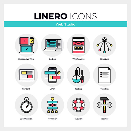 Line icons set of web studio services for website coding. Modern color flat design linear pictogram collection. Outline vector concept of mono stroke symbol pack. Premium quality web graphics material.