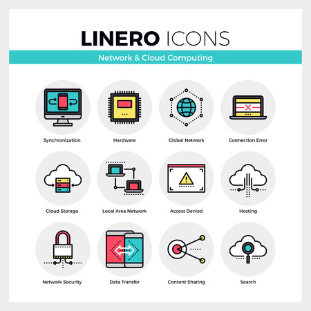 Line icons set of cloud computing, network server connection. Modern color flat design linear pictogram collection. Outline vector concept of mono stroke symbol pack. Premium quality web graphics material. Иллюстрация