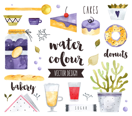 boulangerie: Premium quality watercolor icons set of homemade sweets, bakery food and desserts. realistic decoration with text lettering. Flat lay watercolour objects isolated on white background.