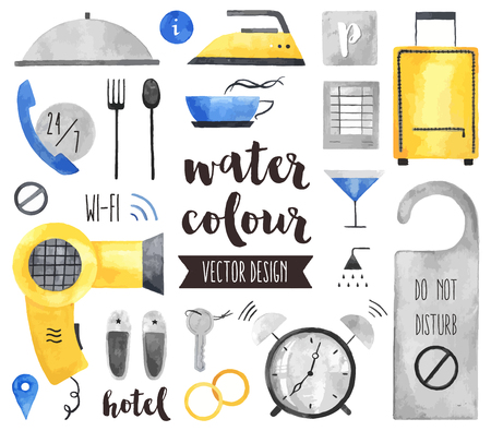 Premium quality watercolor icons set of hotel services, apartments room suit key. realistic decoration with text lettering. Flat lay watercolour objects isolated on white background.