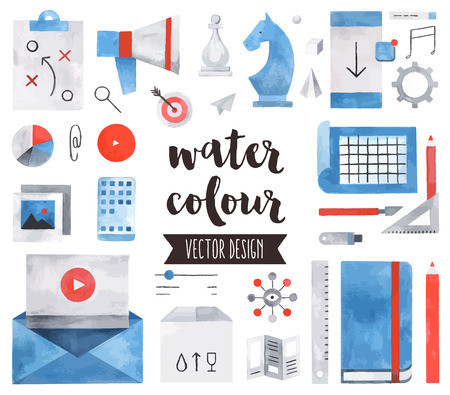 Premium quality watercolor icons set of business strategy concept, marketing tools. realistic decoration with text lettering. Flat lay watercolour objects isolated on white background. Vectores