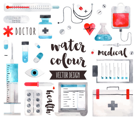 Premium quality watercolor icons set of medical equipment, pills with first aid kit. realistic decoration with text lettering. Flat lay watercolour objects isolated on white background. Vettoriali
