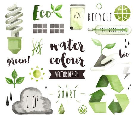 Premium aquarelle icônes de qualité définies du problème environnemental, d'économie d'énergie verte. décoration avec du texte lettrage. Objets plats aquarelle laïcs isolé sur fond blanc. Vecteurs