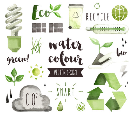 emission: Premium quality watercolor icons set of environmental problem, green energy saving.  decoration with text lettering. Flat lay watercolour objects isolated on white background.