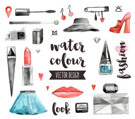 아름다움: 프리미엄 품질의 수채화 아이콘 메이크업 제품, 여성의 아름다움 액세서리의 집합입니다. 텍스트 문자 장식. 플랫 평신도 수채화 개체 흰색 배경에 고