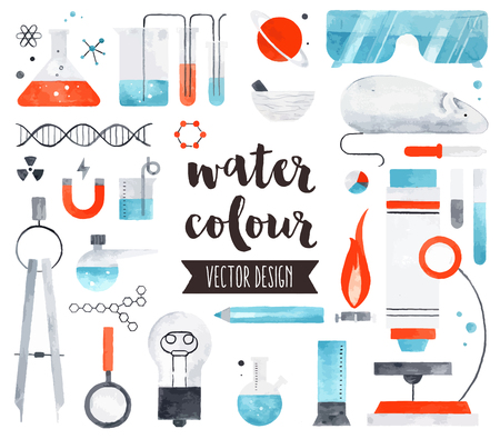 Premium quality watercolor icons set of science laboratory research, lab test tubes. realistic decoration with text lettering. Flat lay watercolour objects isolated on white background.