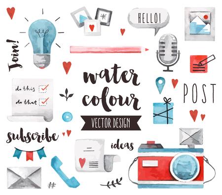 médias: aquarelle icônes ensemble de l'affichage du contenu des médias sociaux et la décoration blogging.realistic avec le texte lettrage qualité haut de gamme. Objets plats aquarelle laïcs isolé sur fond blanc.