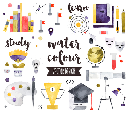 oktatás: Kiváló minőségű akvarell ikonok meg a tanulási készségek, az iskolai tanulás és az oktatás. reális dekoráció szöveg betűkkel. Lapos laikus akvarell tárgyak elszigetelt fehér háttérrel.