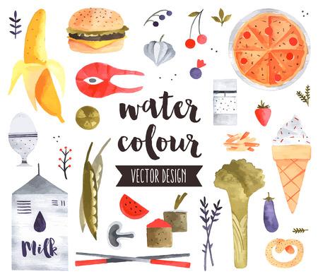 다양한 건강 식품, 과일, 텍스트 글자 vegetables.realistic 장식 세트 프리미엄 품질의 수채화 아이콘. 플랫 평신도 수채화 개체 흰색 배경에 고립입니다.