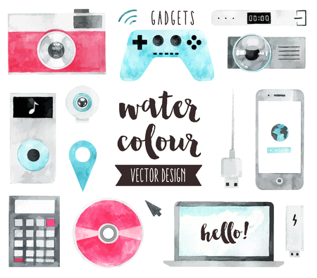 smartphones: Premium quality watercolor icons set of smart media devices and personal gadgets. realistic decoration with text lettering. Flat lay watercolour objects isolated on white background.