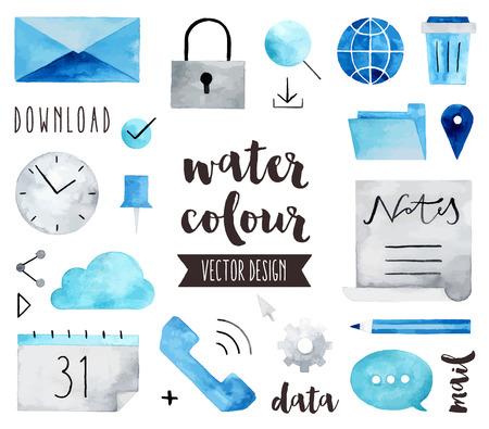 Premium kwaliteit aquarel iconen set van wereldwijde communicatie, business-verbinding. realistische decoratie met tekst letters. Flat lay aquarel objecten geïsoleerd op een witte achtergrond.