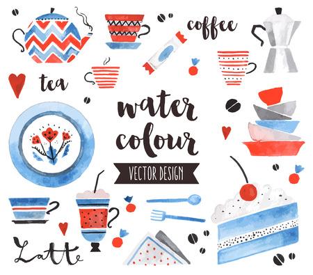 roztomilý: Špičková kvalita akvarel ikony nastavit tradiční čajové konvice, světlé keramické desky. dekorace s textem písmem. Byt Dispozice akvarel objekty na bílém pozadí.