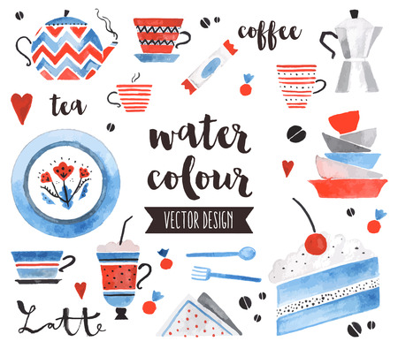dessert: Premium quality watercolor icons set of traditional tea pot, bright ceramic plates.  decoration with text lettering. Flat lay watercolour objects isolated on white background. Illustration