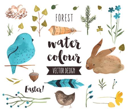 祝賀会: ばねの祭典、イースターエッグ幸福のプレミアム品質の水彩アイコンのセットします。テキストの文字装飾を現実的です。フラット レイアウト水彩オブジェクトを  イラスト・ベクター素材