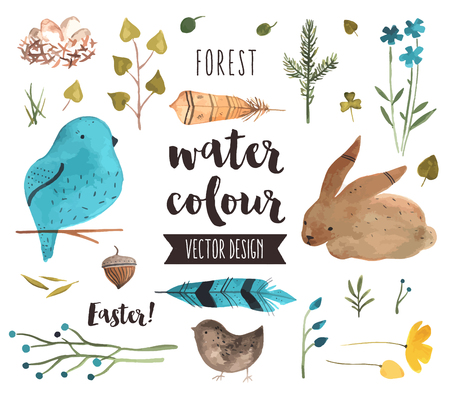 Premium quality watercolor icons set of spring celebration, Easter egg happiness. realistic decoration with text lettering. Flat lay watercolour objects isolated on white background. Ilustração
