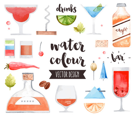 craft background: Premium quality watercolor icons set of alcohol drinks and various bar cocktails. realistic decoration with text lettering. Flat lay watercolour objects isolated on white background.