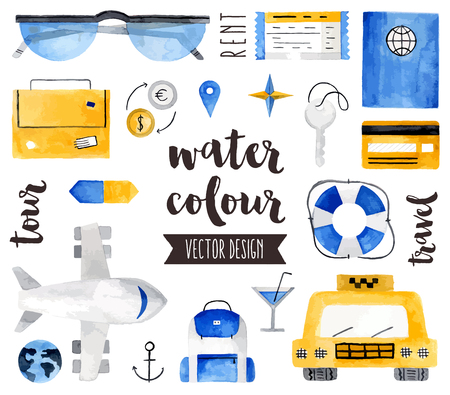 Premium quality watercolor icons set of world traveling, vacation destination. realistic decoration with text lettering. Flat lay watercolour objects isolated on white background.