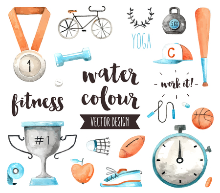 Premium quality watercolor icons set of sports awards and fitness activity benefits. realistic decoration with text lettering. Flat lay watercolour objects isolated on white background.