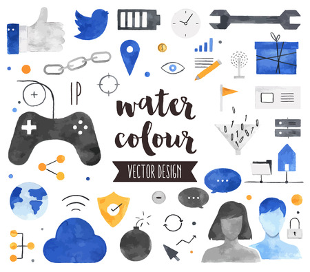 Premium quality watercolor icons set of people connection, social gaming community. Hand drawn realistic decoration with text lettering. Flat lay watercolour objects isolated on white background.
