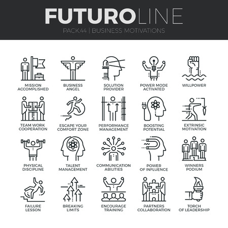 Nowoczesne cienkie linie ikony zestaw dyscypliny gospodarczej, funkcjonowania oraz przywództwa. Jakość premium collection symbol konspektu. Proste liniowe mono paczka piktogram. Koncepcja Skok do grafiki internetowej. Ilustracje wektorowe