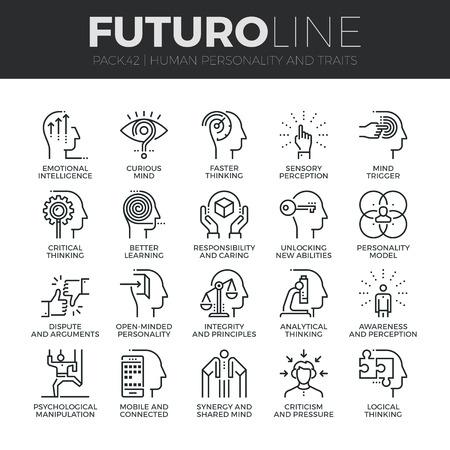 iconos modernos delgada línea configurados de la personalidad humana, rasgos de pensamiento, capacidades de la mente. calidad de la captación símbolo del esquema de suscripción. paquete pictograma mono lineal simple. Stroke concepto de gráficos para la web.