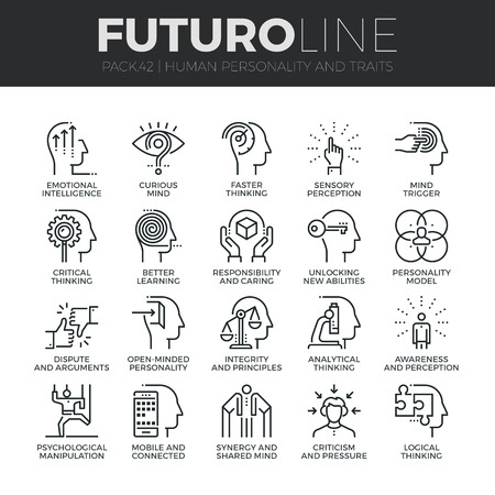 Modern thin line icons set of human personality, thinking traits, mind abilities. Premium quality outline symbol collection. Simple mono linear pictogram pack. Stroke concept for web graphics. Vectores