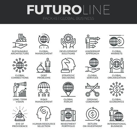 desarrollo económico: iconos de líneas delgadas modernas conjunto de servicios globales de negocios y operaciones en todo el mundo. calidad de la captación símbolo del esquema de suscripción. paquete pictograma mono lineal simple. Stroke concepto de gráficos para la web.