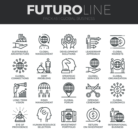 business solution: Modern thin line icons set of global business services and worldwide operations. Premium quality outline symbol collection. Simple mono linear pictogram pack. Stroke concept for web graphics. Illustration