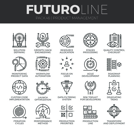focus on: Modern thin line icons set of production management, project quality control. Premium quality outline symbol collection. Simple mono linear pictogram pack. Stroke concept for web graphics. Illustration