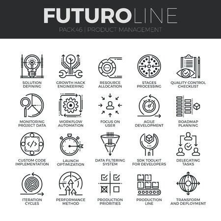 Nowoczesne cienkie linie ikony zestaw zarządzania produkcją, kontrolą jakości projektu. Jakość premium collection symbol konspektu. Proste liniowe mono paczka piktogram. Koncepcja Skok do grafiki internetowej.