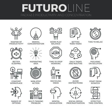 mente humana: iconos de líneas delgadas modernas dependencias de la productividad del trabajo, hacer las cosas, la concentración. calidad de la captación símbolo del esquema de suscripción. paquete pictograma mono lineal simple. Stroke concepto de gráficos para la web.