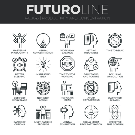 work stress: Modern thin line icons set of task productivity, get things done, concentration. Premium quality outline symbol collection. Simple mono linear pictogram pack. Stroke concept for web graphics.