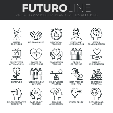 Modern thin line icons set of conscious living, friends relations and emotions. Premium quality outline symbol collection. Simple mono linear pictogram pack. Stroke concept for web graphics.
