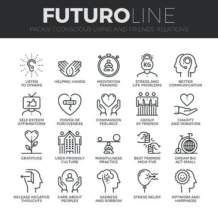 amistad: iconos de líneas finas Conjunto moderno de la vida consciente, las relaciones y las emociones amigos. calidad de la captación símbolo del esquema de suscripción. paquete pictograma mono lineal simple. Stroke concepto de gráficos para la web.