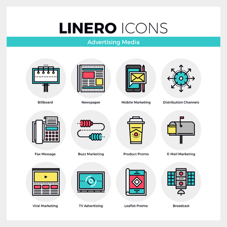 Line icons set of advertising media, marketing channels. Modern color flat design linear pictogram collection. Outline vector concept of mono stroke symbol pack. Premium quality web graphics material.