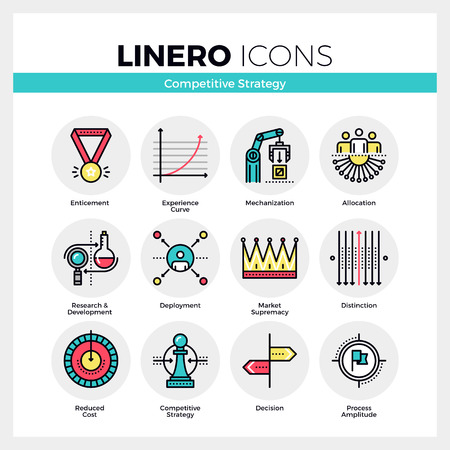advantages: Line icons set of business strategy, competitive advantage. Modern color flat design linear pictogram collection. Outline vector concept of mono stroke symbol pack. Premium quality web graphics material.