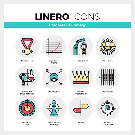 Line-Icons Set von Geschäftsstrategien, Wettbewerbsvorteil. Moderne Farbe flaches Design lineare Piktogramm-Sammlung. Skizzieren Vektor Konzept der Mono Schlaganfall Symbol Pack. Premium-Qualität von Web-Grafiken Material. Vektorgrafik