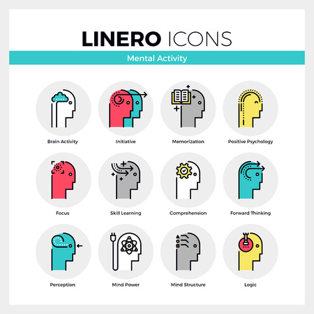 Line icons set of human mental activity and brain process. Modern color flat design linear pictogram collection. Outline vector concept of mono stroke symbol pack. Premium quality web graphics material.