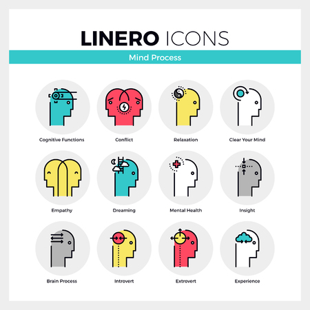 mental work: Line icons set of mental and mind processes of human brain. Modern color flat design linear pictogram collection. Outline vector concept of mono stroke symbol pack. Premium quality web graphics material.