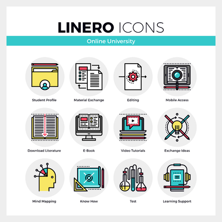 Line icons set of online university, student study process. Modern color flat design linear pictogram collection. Outline vector concept of mono stroke symbol pack. Premium quality web graphics material.