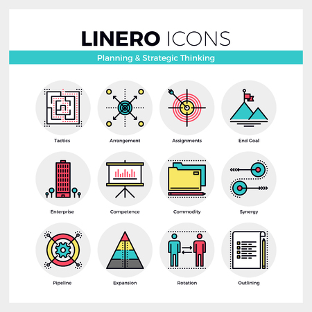 pensamiento estrategico: Line icons set of business goals planning, strategic thinking. Modern color flat design linear pictogram collection. Outline vector concept of mono stroke symbol pack. Premium quality web graphics material.
