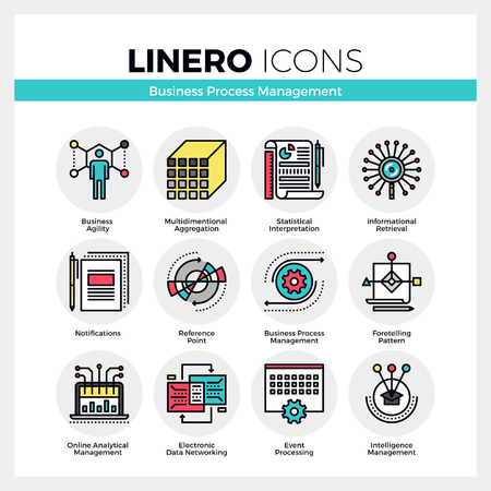 complex: Line icons set of business process management features. Modern color flat design linear pictogram collection. Outline vector concept of mono stroke symbol pack. Premium quality web graphics material.