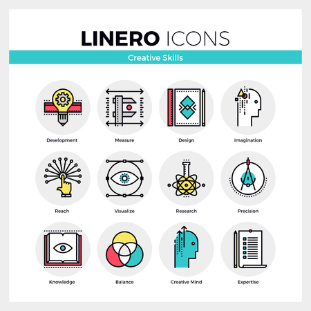 Line icons set of creative skills of mindfulness designer. Modern color flat design linear pictogram collection. Outline vector concept of mono stroke symbol pack. Premium quality web graphics material.