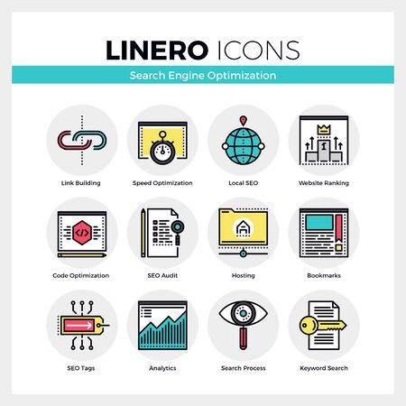 icons site search: Line icons set of website search engine optimization process. Modern color flat design linear pictogram collection. Outline vector concept of mono stroke symbol pack. Premium quality web graphics material.